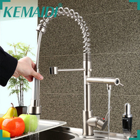 Hello Kitchen Faucet Torneira Cozinha Pull Out Down Swivel 8525 3 20 Brushed Nickel Brass Water