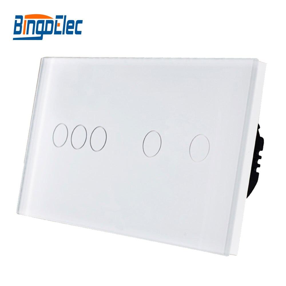 Commutateur d'écran tactile de lumière de mur de l'ue standard 5 gang 1way, commutateur de panneau en cristal de trois couleurs, offre spéciale de AC110-250V