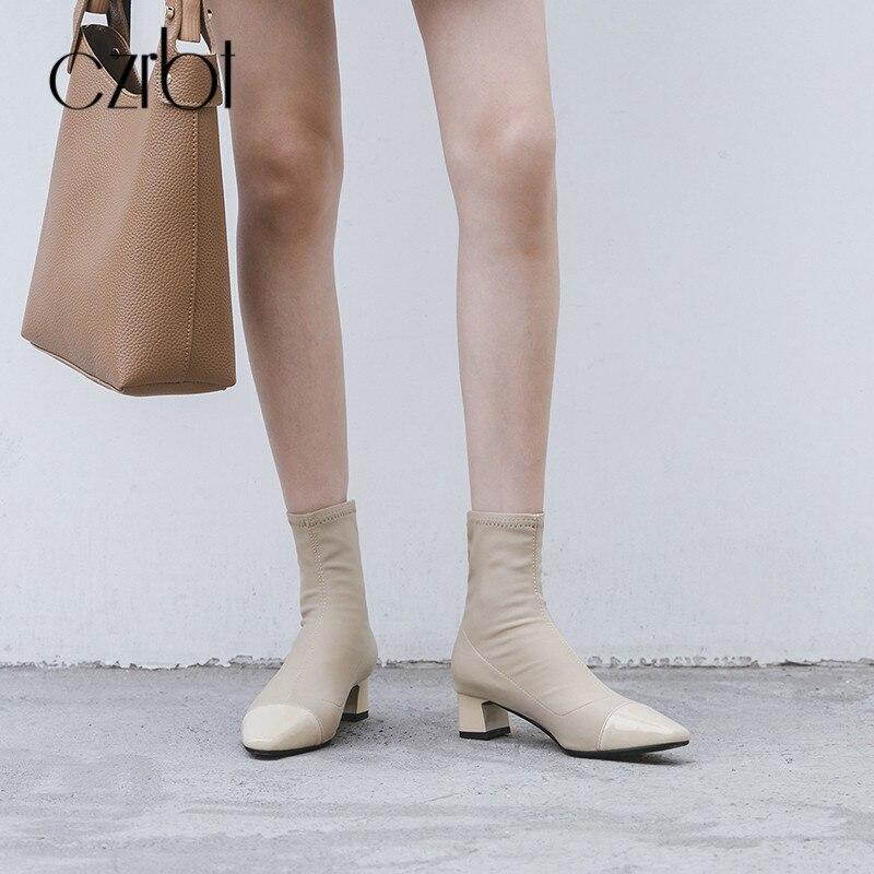 Bottes Toe Stretch En apricot Rome Carré Femmes Slip Style Black Verni Classique Czrbt Haute Cuir Sur Cheville Automne Talon Chaussures g5PSdxgwq