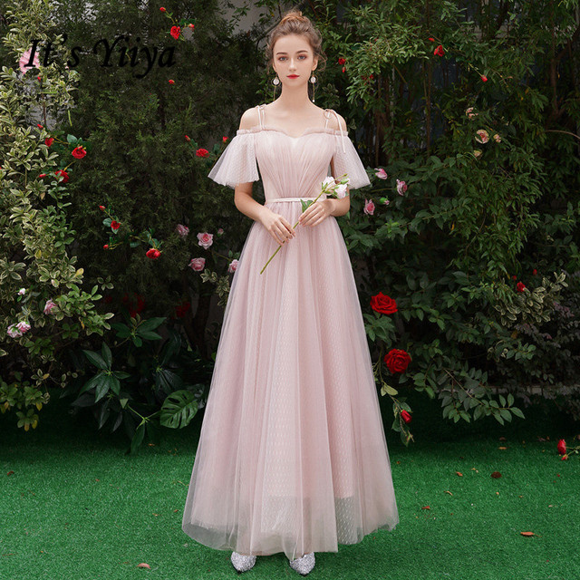 It's YiiYa Bridesmaid Dress Pink Spaghetti Strap Pleat Long bridesmaid dresses Elegant Boat Neck Lace Up Party Gown E125