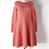 Spring Euro Style New Style Slash Neck Fastener Long Sleeve Dresses Panelled Plaid Feminine Sweater Dress