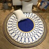 Soft Round Flannel Decorative Carpet Foot Door Yoga Chair Play Mat Pad Bathroom Hallway Area Rug Blue gold Home Deco Carpet