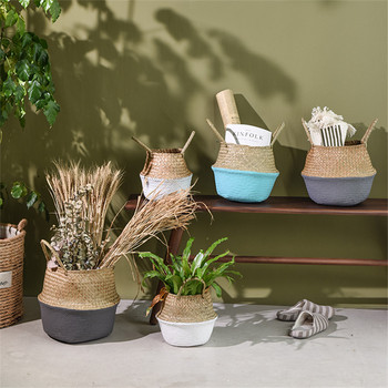 Handmade Bamboo Storage Baskets Foldable Laundry Straw Patchwork Wicker Rattan Seagrass Belly Garden Flower Pot Planter Basket 1