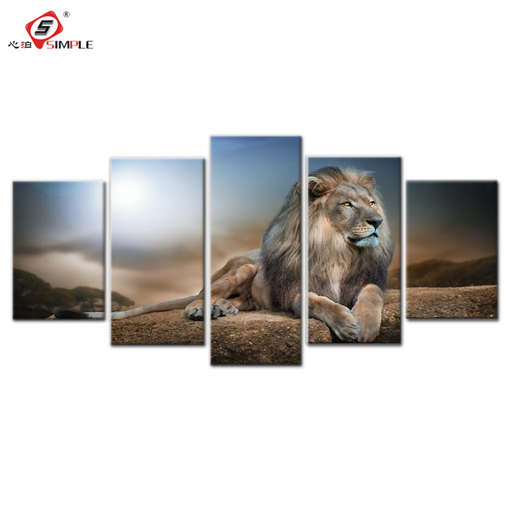 SIMPLE Drop Shipping 5pc Gazing Lion Canvas Print Wall Decor for Living Room Modular Wall Art Canvas Painting Poster and Prints