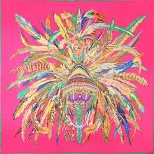130X130cm Russian Style spring summer women silk scarf large printing feather 100%twill square beach shawl headband