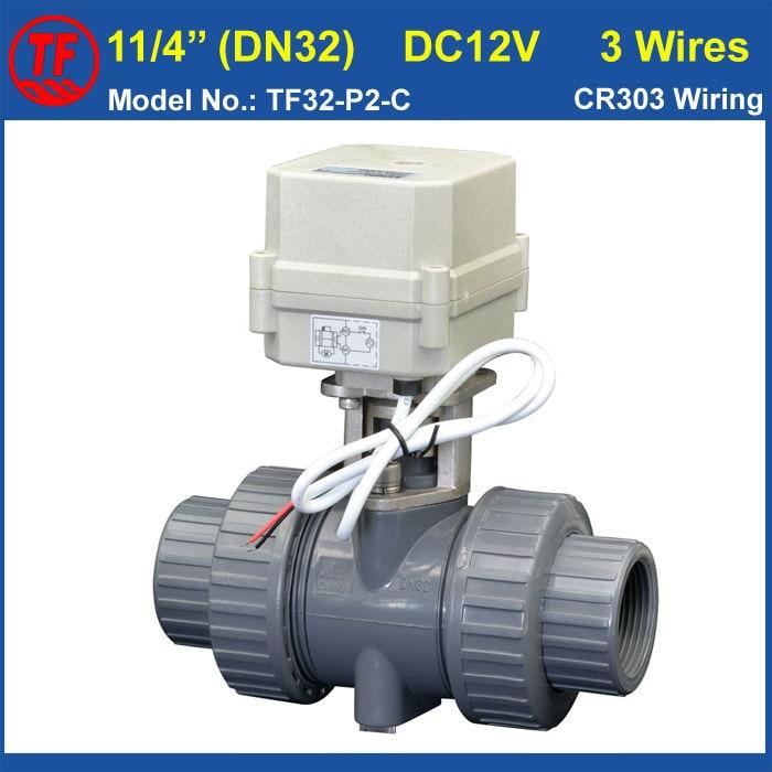 ФОТО TF32-P2-C 2 Way DN32 PVC Electric Motorized Valve BSP/NPT 11/4'' DC12V 3 Wires 10NM Actuator Valve On/Off 15 Sec Metal Gear CE