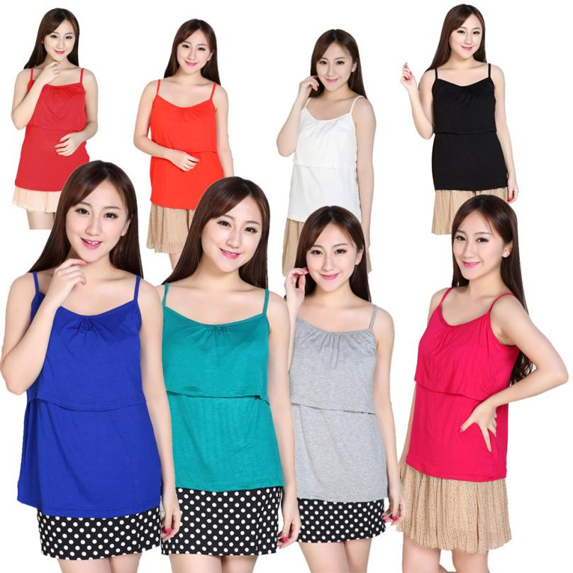 Hot Selling New Women Clothes 7 Colors T-Shirt Pregnant Suspenders Maternity Clothes Nursing Tops Breastfeeding Vest T-Shirt