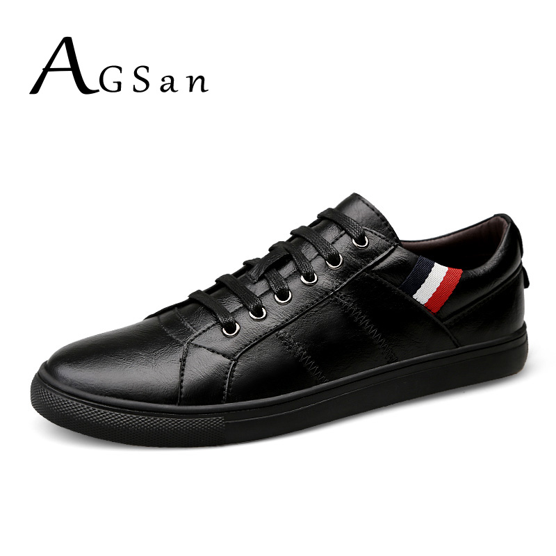 AGSan men genuine leather lace up casual shoes plus size 47 46 45 11 10 10.5 mens autumn zapatos hombre sapatos black flats autumn leather mens outdoor men canvas shoes mens casual shoes lace up mens men trainers zapatillas zapatos hombre
