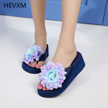HEVXM slim sandals girl slippers zapatos summer season trend sandals seaside slippers vacation phoenix orchid slope with slippers 35-42