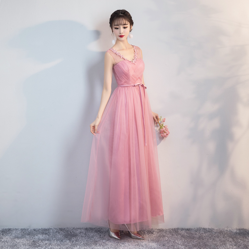 Red Bean Pink Colour Bridesmaid Dresses  Wedding Party Dresses For Women Maxi Dress