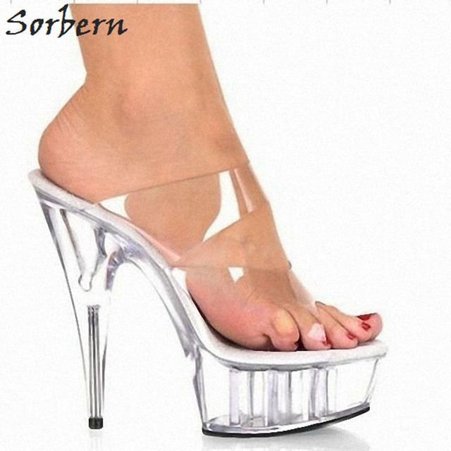 179e70fd10 Sorbern Transparent Pvc Women Slippers Outdoor Slides Ladies 15Cm Plastic  High Heels Open Toe Platform Shoes Women Chinese Size