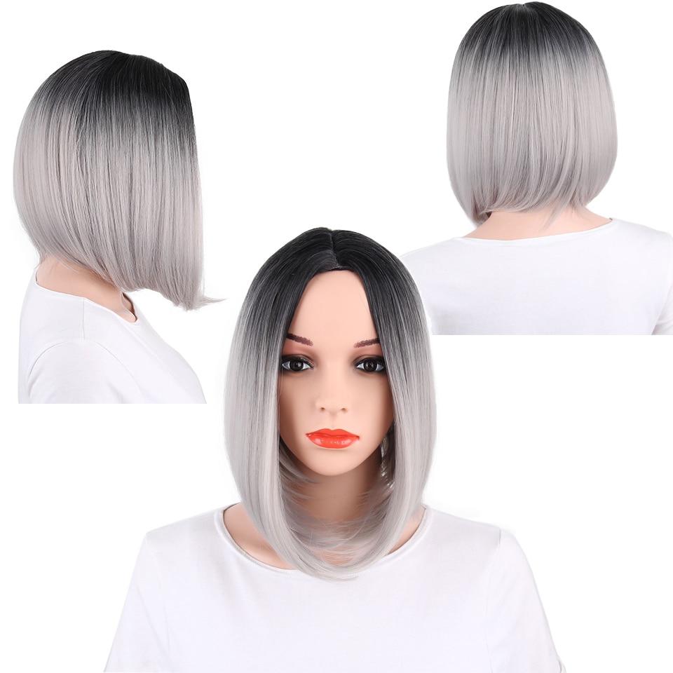 AISI HAIR Syntetisk Ombre Grå Hår Bob Style Korta Paryk till - Syntetiskt hår - Foto 2