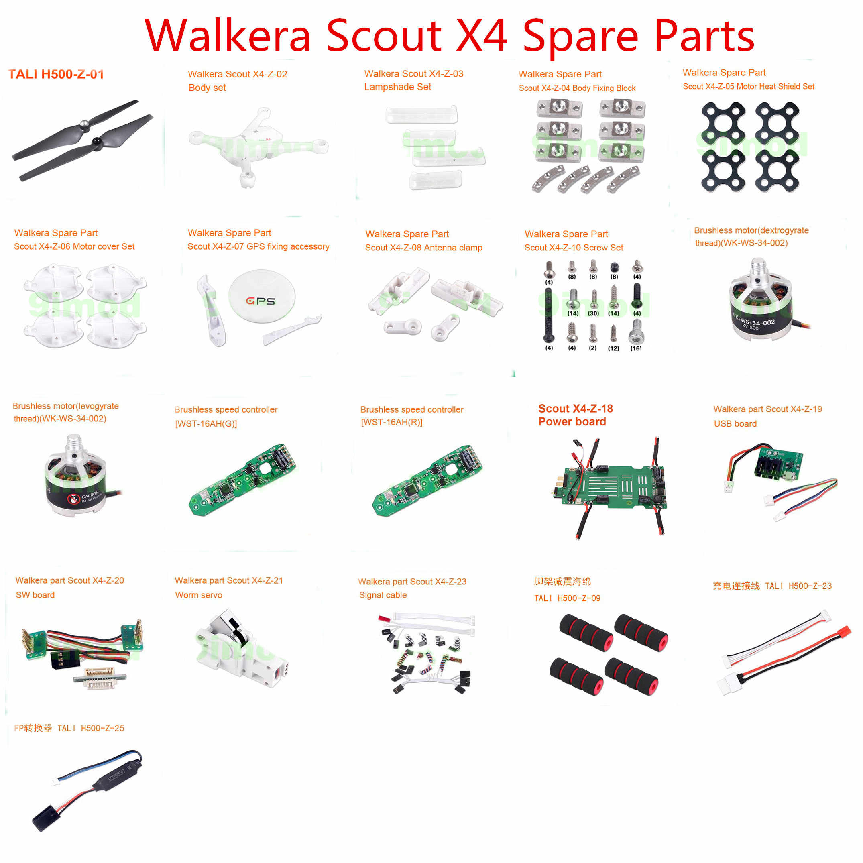 Walkera Scout X4 RC Quadcopter piezas de repuesto cuchilla shell cuerpo motor ESC placa de potencia tornillo gusano servo cable, etc.
