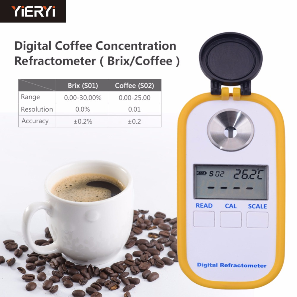 Yieryi 0-30% Brix Coffee Sugar Meter TDS 0-25% Concentration Refractometer Digital Portable Electronic Refractometer