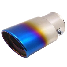 Universal Car Vehicle Exhaust Muffler Steel Tail Pipe:Straight Single Tube(blue)