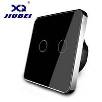Jiubei EU Standard Wall Switch Black Crystal Glass Panel 2 Gangs 1 Way Wall Light Touch