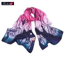 SALUTTO Higi Quality Digital Printing Women Scarf Brand Shawls Scarves 100% Silk Foulard Femme Luxury Monet Painting