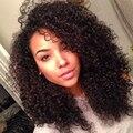 Дешевый 4 Расслоение Бразильские Волосы Ткать Пучки С Закрытием Тугие Кудри Девы Бразильской Волос С Закрытием