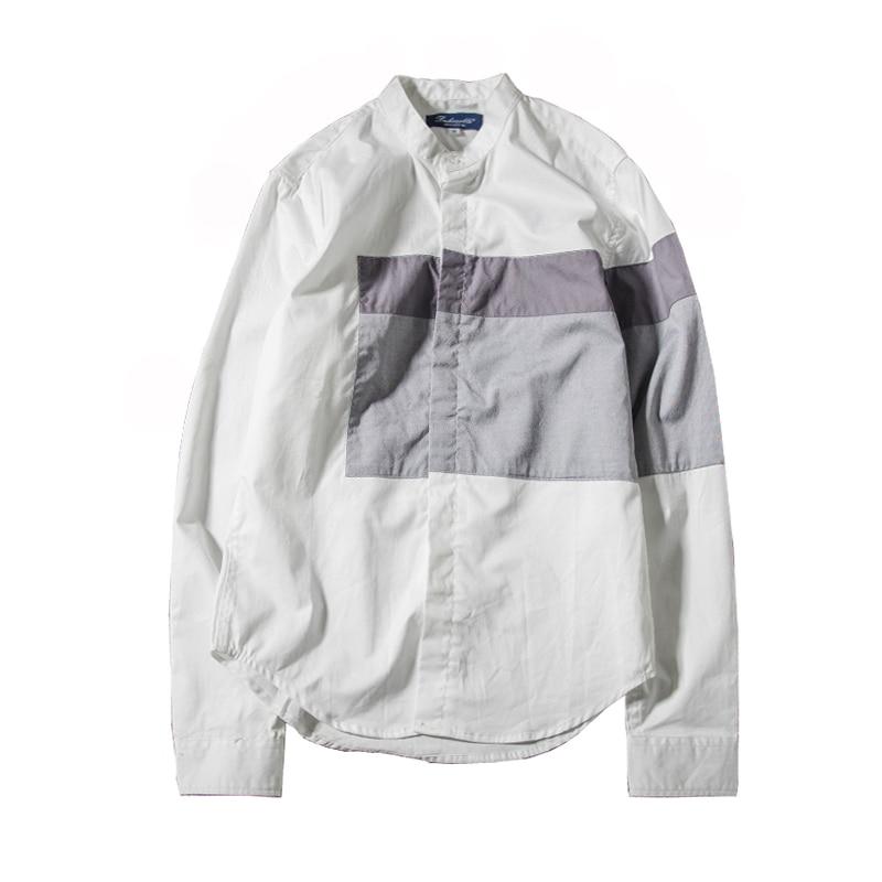 zomer mode klassieke stijl patchwork shirt met lange mouwen heren - Herenkleding - Foto 3