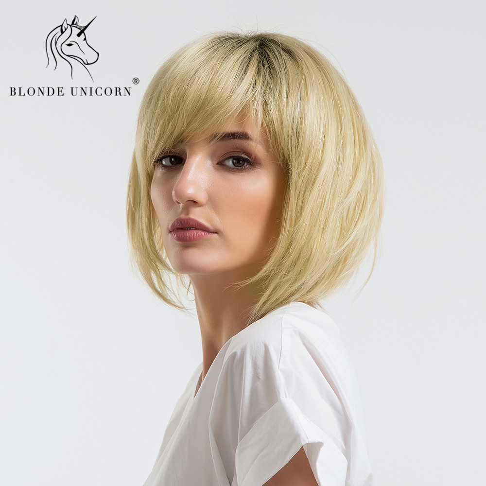BLONDE UNICORN 12 Inch  50% Human Hair Synthetic Wig Straight Hair Dark Root Ombre Brown Shoulder Length Wig With Free Gift