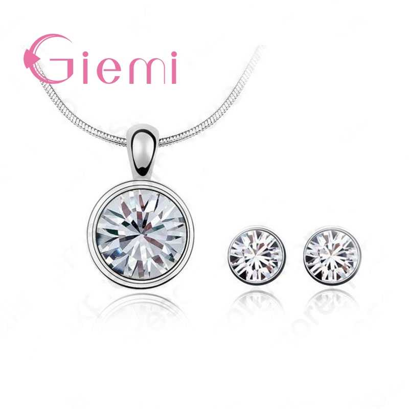 Hot Sale Women Wedding Jewelry Set 925 Sterling Silver  Cubic Zircon Pendant Necklace/Earring Women Sets Hot Promotion