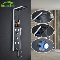Oil Rubbed Bronze LED Rainfall & Waterfall Shower Head Shower Panel Bathtub Mixer Tap with Bathroom Shelf
