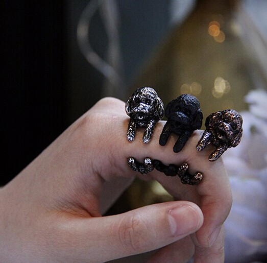 Aimeilai Vintage French Pekingese dog rings Dachshund Dog jewerly Gun Black / Antique Silver / Antique Bronze Sausage Dog Ring