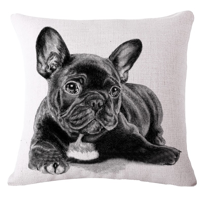 Vintage French Bulldog Cushion Covers Car Covers For Sofa Home Decor Animal Throw Pillow Covers French