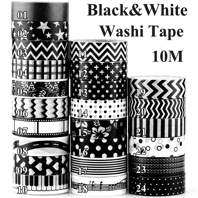 Black And White Dots Stars Cross Music Note Film Negative Japanese Washi Tape Set For Scrapbooking Decorative Masking Tape 10m