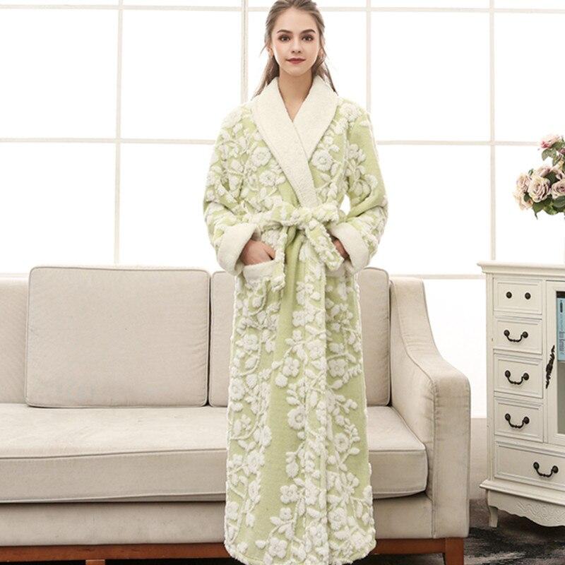 Floral Sexy femmes Kimono Robe de bain Jacquard longue Robe hiver chaud vêtements de nuit chemise décontracté flanelle chemise de nuit - 4