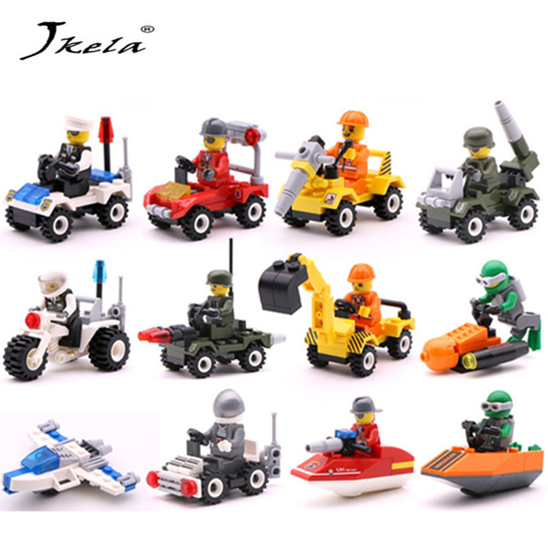 [Jkela] City Series Police Car Fighter mini Educational Building Blocks Toys Compatible With legoingly City
