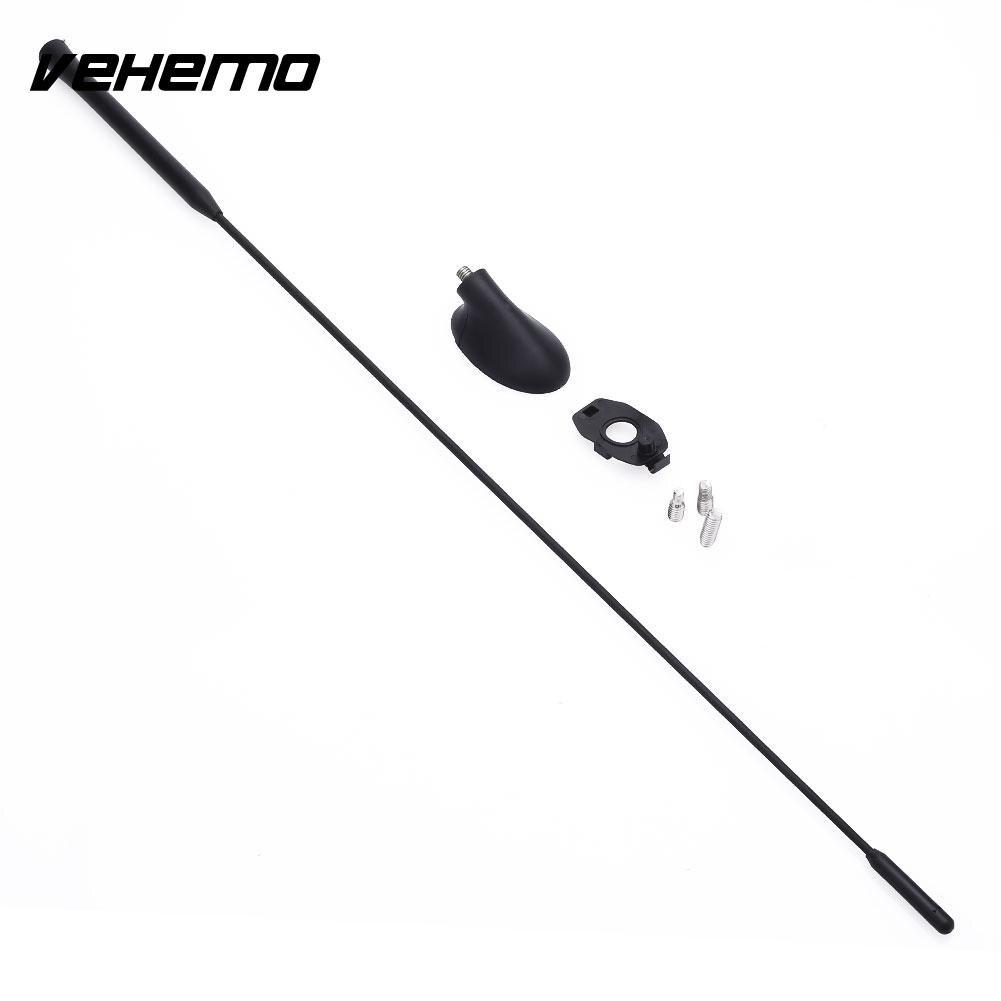 Vehemo Aérienne Antenne Radio Antenne En Aluminium Alliage avec Base De Voiture Aérienne Mât pour Ford Focus Noir Portable Premium Qualité