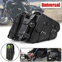 Left Right Universal PU Leather Motorcycle Saddlebag Tool Luggage Side Bags For Harley/Sportster/Honda/Suzuki/Kawasaki/Yamaha