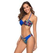лучшая цена Sexy Fashion Multi color Patchwork halter top swimsuit Wire free pad top swimwear Blue Background women cheeky thong bikini