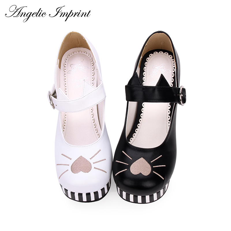2018 Sweet Lolita Cosplay Striped High Heels Embroidery Cat Mary Jane Shoes