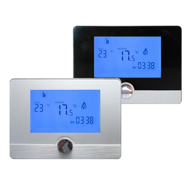 hy04bw programmierbare lcd ankunfts fu bodenheizung digitale raumthermostat temperaturregler f r. Black Bedroom Furniture Sets. Home Design Ideas