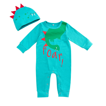 Newborn Baby Romper Set Boys Girls Cartoon Dinosaur Romper Jumpsuit Hats Baby Girls Long Sleeve Cotton Romper Clothes Sets D20