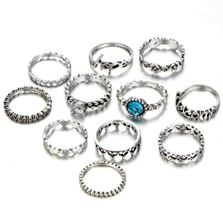 Высокое качество Горячая старинная серебряная буква цветок Сердце кольца для суставов палец для женщин синий кристалл резные кольца на средний палец набор 11 шт