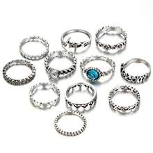 High Quality Hot old Vintage Silver Letter Flower Heart Knuckle Rings for Women Blue Crystal Carved Finger Midi Rings Set 11pcs(China)
