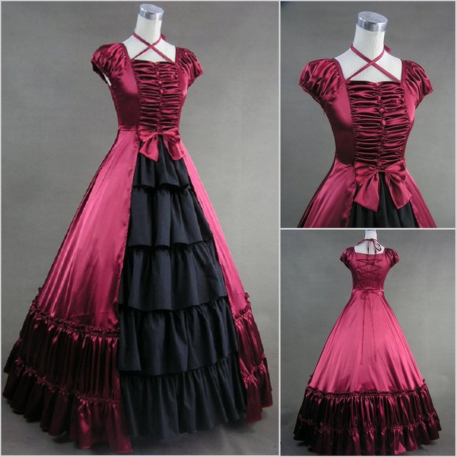 Long Sleeve Gothic Lolita Southern Bell Dress Gothic Victorian Ball Gown  Fancy Dress Prom Halloween Party