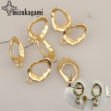 21*14mm 6pcs/lot Zinc Alloy Gold Hollow Oval Earrings Base Earring Connector For DIY Fashion Earrings Accessories