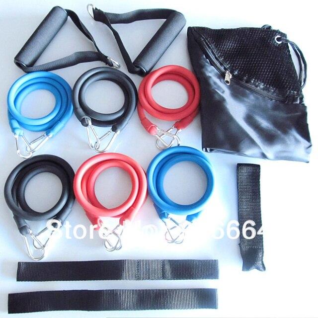 free shipping 12 PCS Latex Resistance Bands Set Resistance Tube Elastic Exercise Bands for Yoga Pilates
