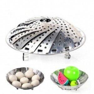 Stainless Steel Steamer Rack Multifunction Retractable Drip Fruit Pots Steaming Plate Rack Grid