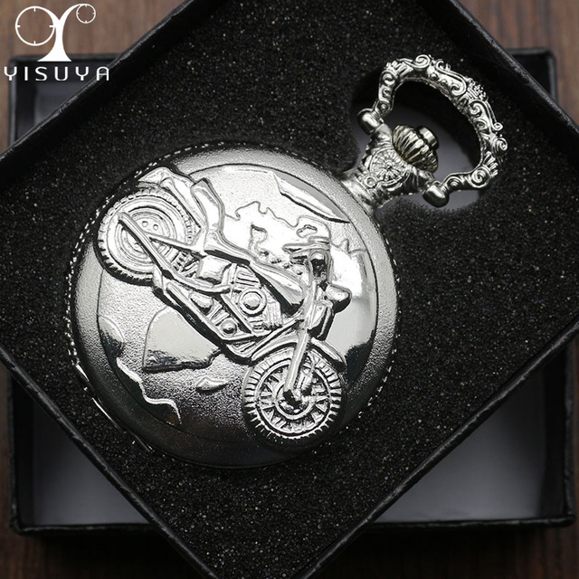 Motorcycle Silver Tone Pocket Watch Round Dial with White Arabic Number Display
