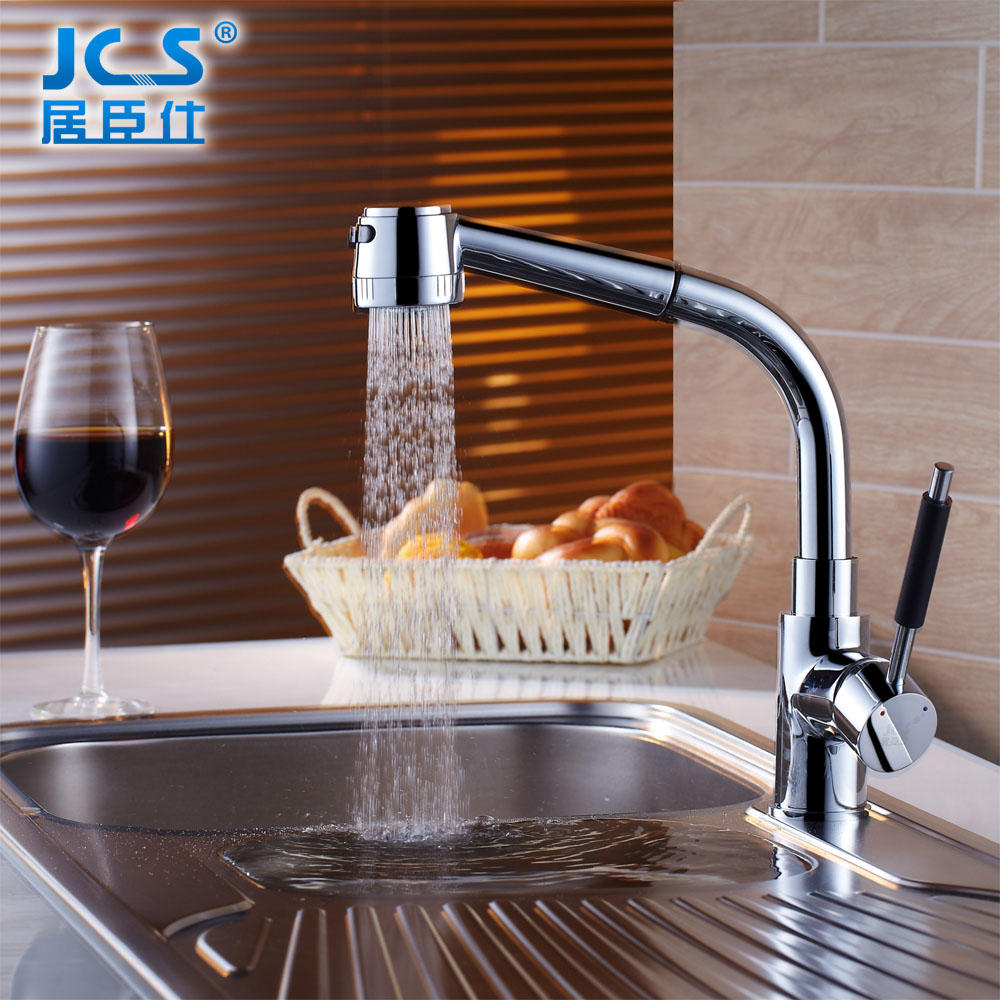 Pull type kitchen faucet copper cold vegetable washing basin faucet rotatable telescopic sink faucet