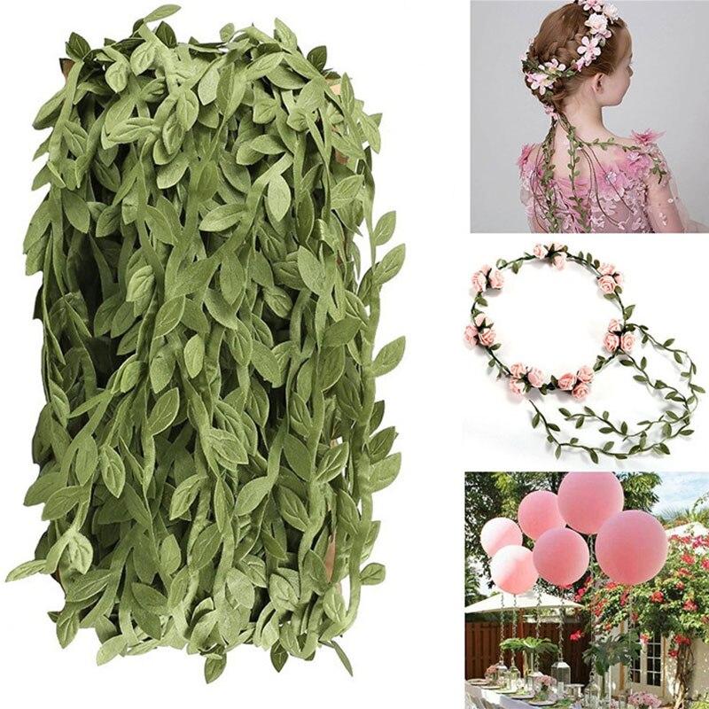 10M Craft Garland Plant Artificial Leaf Vine Fake Green Leaf Wreath Home Decor F