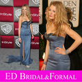 Blake Lively Dress Celebrity Red Carpet Long Fitted Grey  Beaded Satin Formal Evening Gown