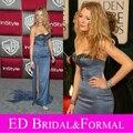 Blake Lively Vestido de La Celebridad de la Alfombra Roja Larga Cabida Gris Con Cuentas de Satén Vestido de Noche Formal