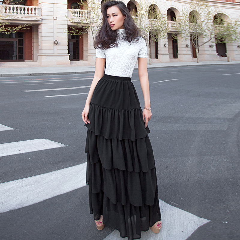56078a3eb577a Summer elegant Ladies chiffon cake skirt maxi Long Layer upon layer ruffles  skirts Customize plus size 5XL 6XL 7XL-in Skirts from Women s Clothing on  ...