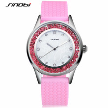 SINOBI Diamond Women Wrist Watches Silicone Watchband Ladies Geneva Quartz Clock Female Wristwatch Montres Femmes 2017 F52